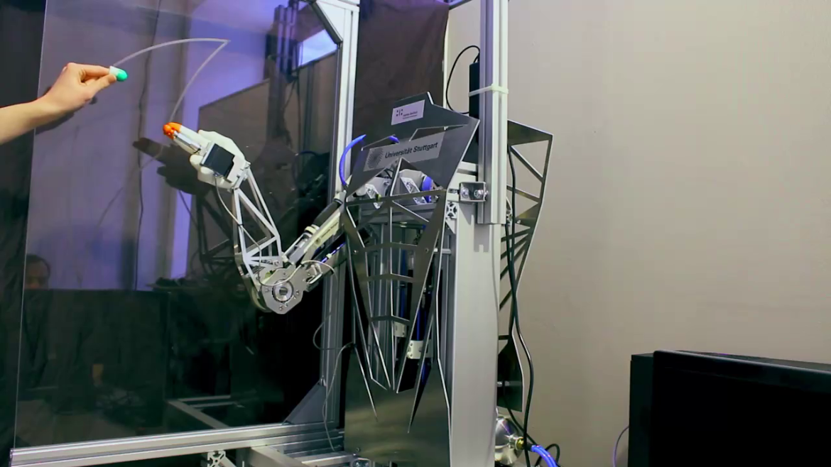 A muscle-driven, autonomous hand-arm-torso robot following a human finger to study model- and learning-based control.